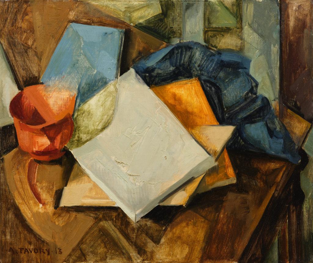 Nature morte cubiste, livres et drapé sur une table, tableau de André Favory, vendu par la galerie Marek & sons.