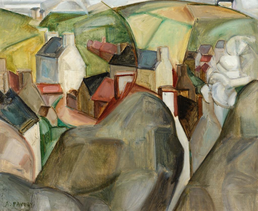 Ploumanach, une vision cubiste, tableau de André Favory, vendu par la galerie Marek & sons.