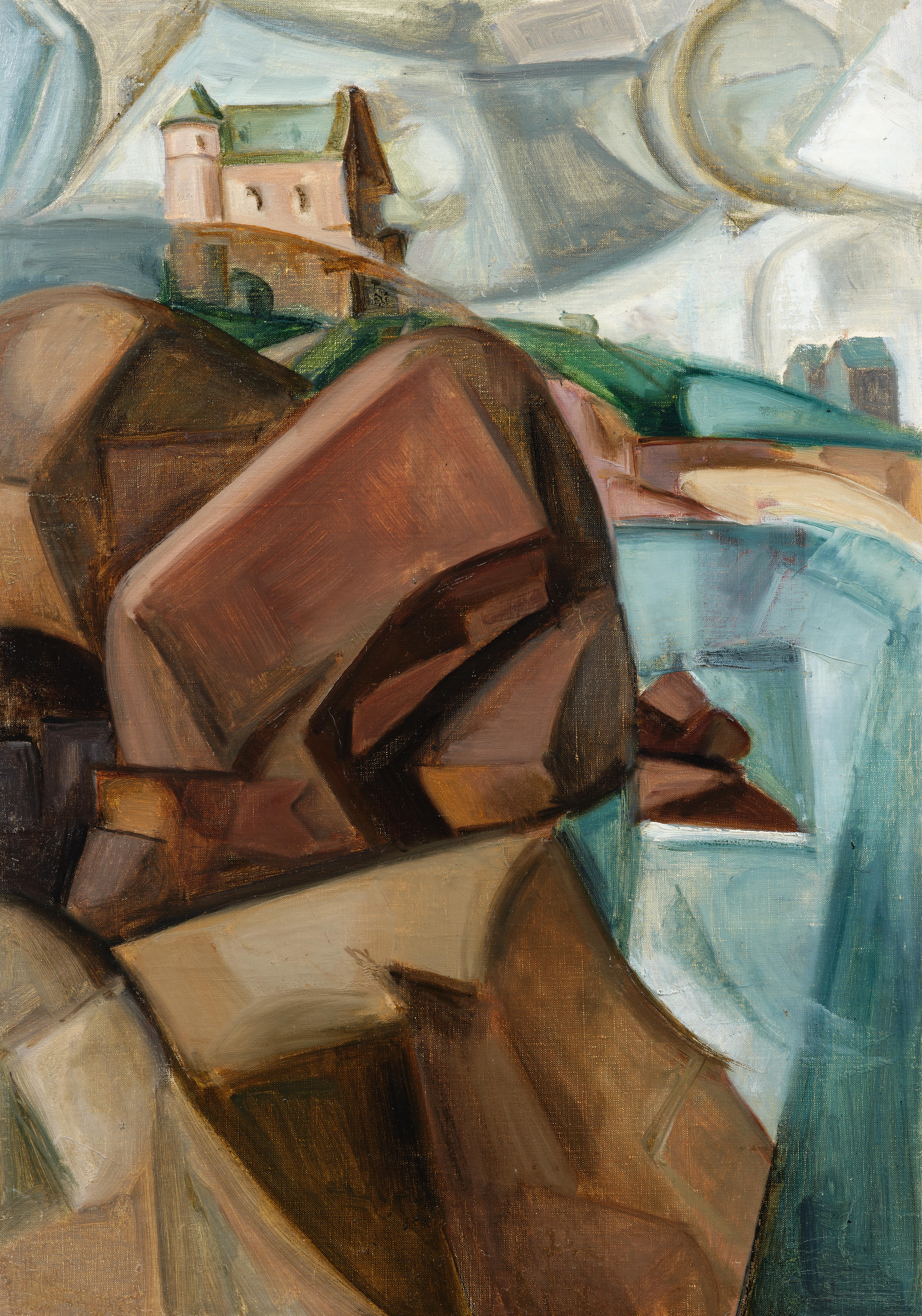 Falaise cubiste à Perros-Guirec - tableau de André Favory, vendu par la galerie Marek & Sons