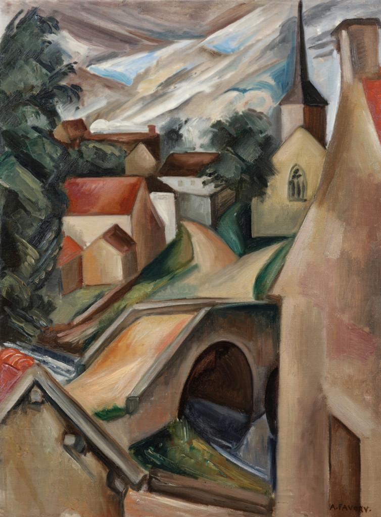 Paysage au pont et à l'église, tableau de André Favory, vendu par la galerie Marek & sons.