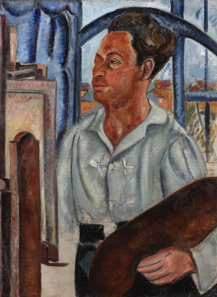 Autoportrait à la palette, tableau de André Favory, vendu par la galerie Marek & sons.