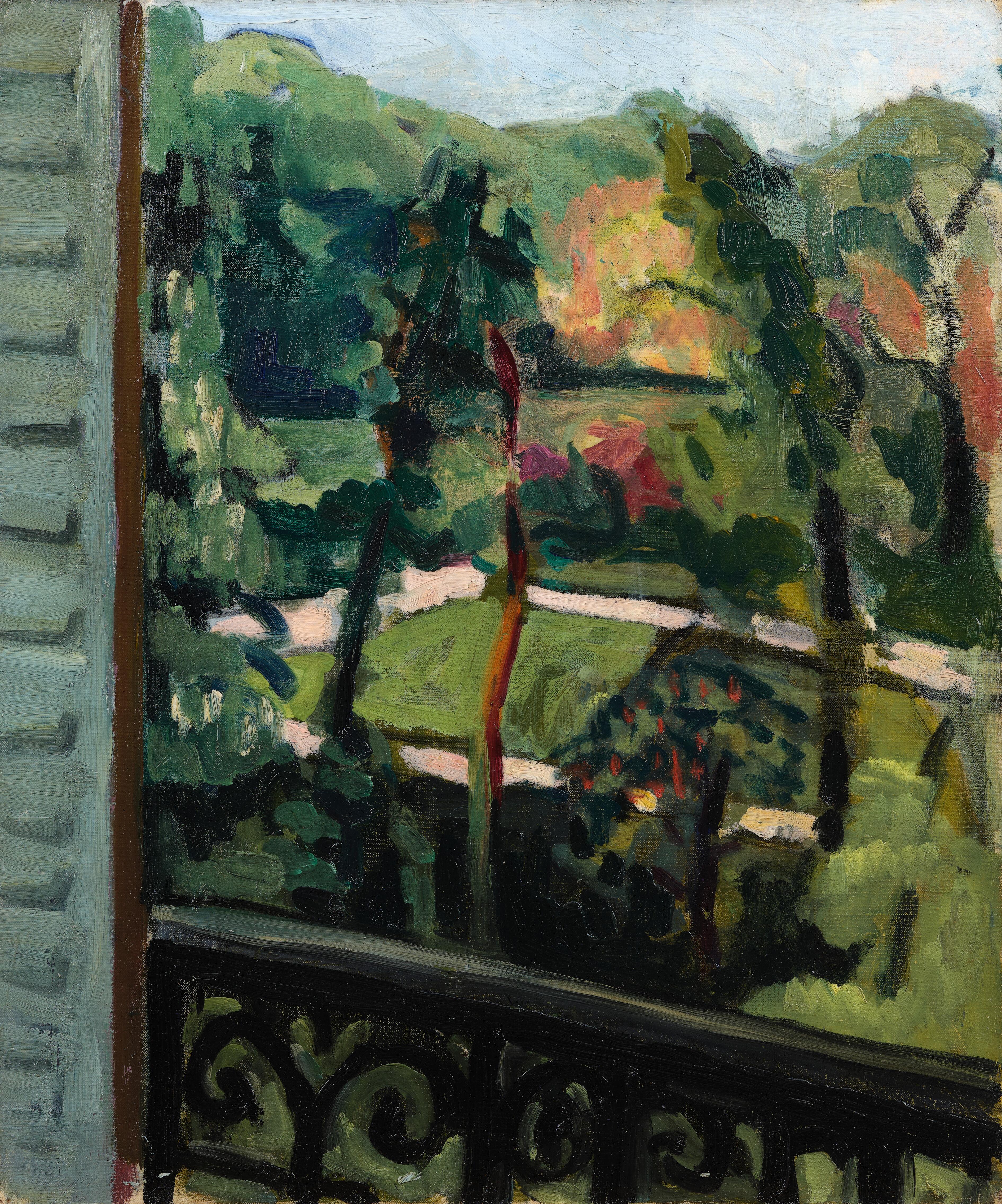 Vue d'un jardin depuis le balcon - tableau de André Favory, vendu par la galerie Marek & Sons