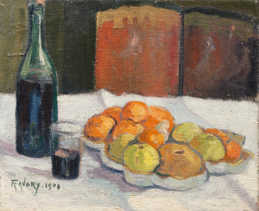 Nature morte à la bouteille et aux fruits, tableau de André Favory, vendu par la galerie Marek & sons.