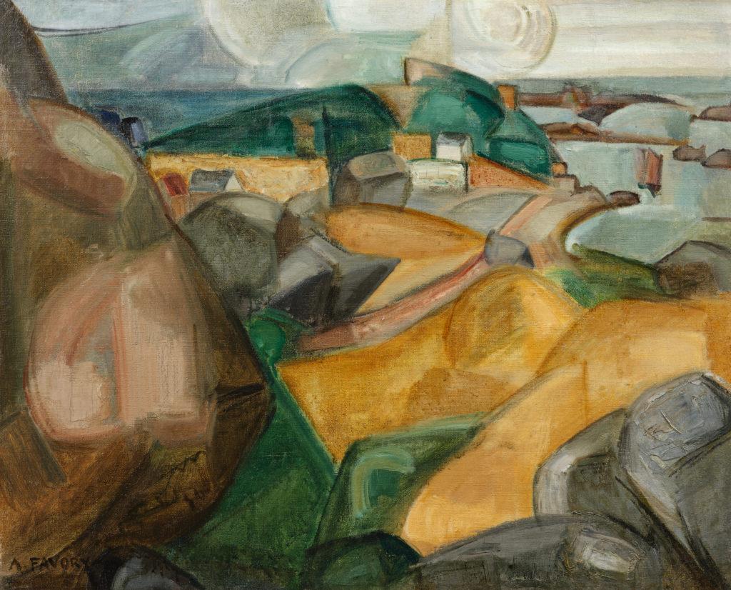 Paysage cubiste, champs de blé à Ploumanach, tableau de André Favory, vendu par la galerie Marek & sons.
