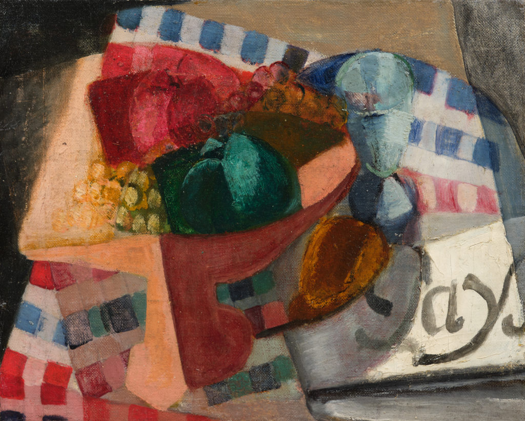 Nature morte cubiste, nappe et coupe de fruits, tableau de André Favory, vendu par la galerie Marek & sons.