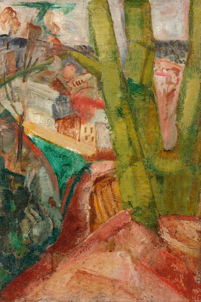 Paysage à l'arbre vert et aux toits rouges, tableau de André Favory, vendu par la galerie Marek & sons.