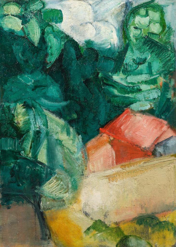 Paysage aux toits rouges, tableau de André Favory, vendu par la galerie Marek & sons.