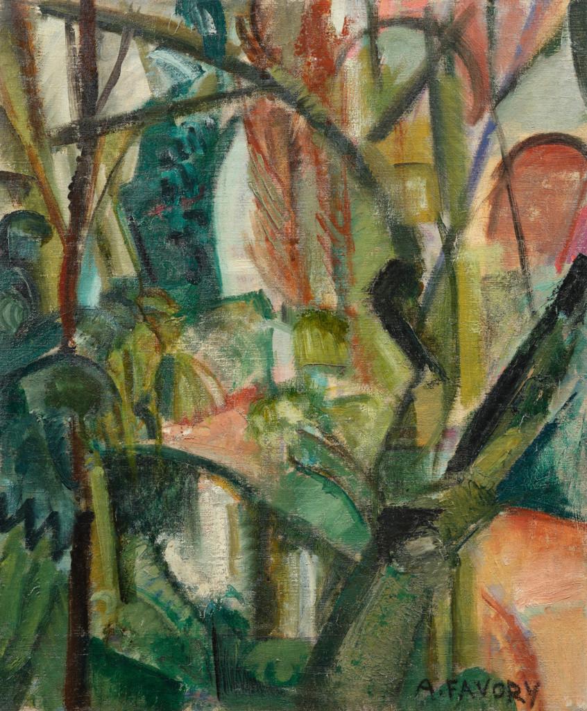 Paysage cubiste, village verdoyant, tableau de André Favory, vendu par la galerie Marek & sons.