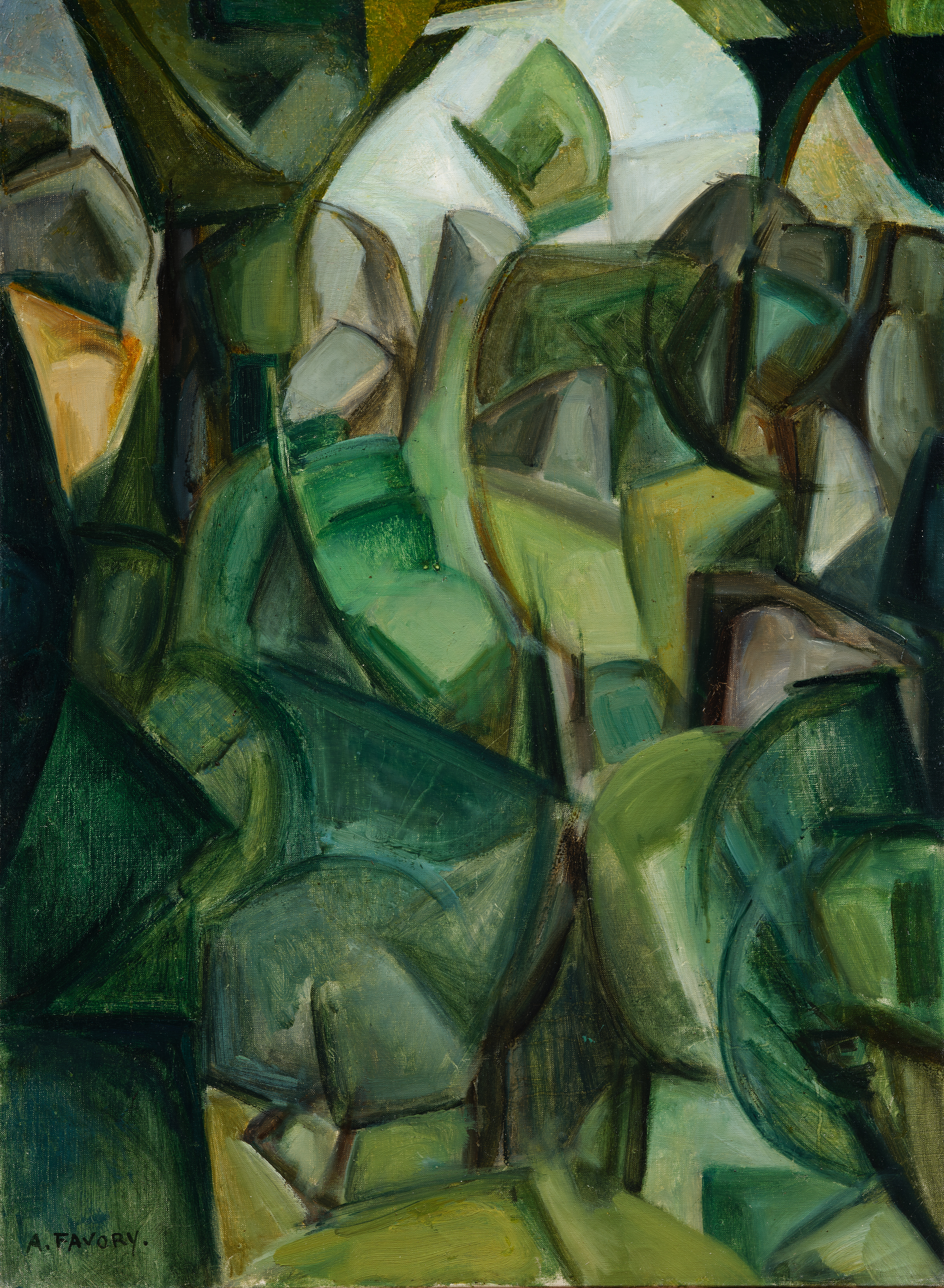 paysage cubiste, études d'arbres - tableau de André Favory, vendu par la galerie Marek & Sons