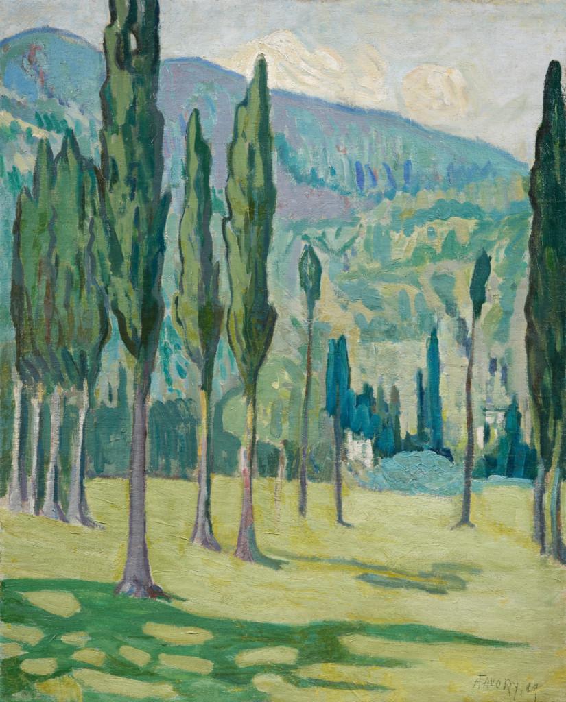 Paysage aux cyprès, tableau de André Favory, vendu par la galerie Marek & sons.