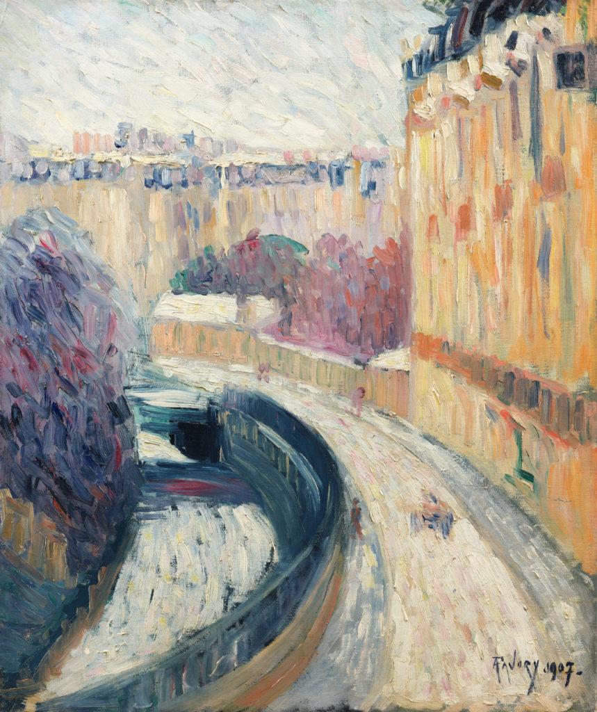 Paris enneigé, tableau de André Favory, vendu par la galerie Marek & sons.