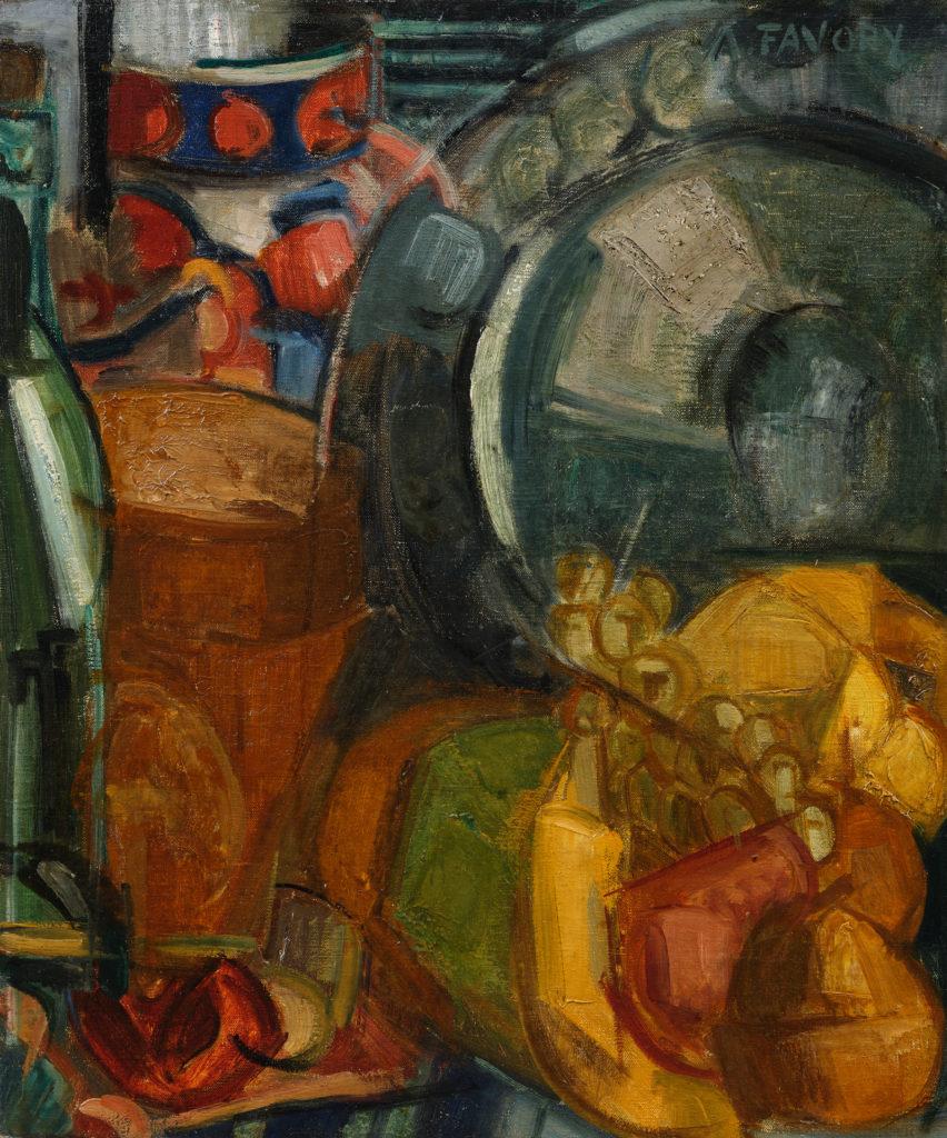 Nature morte cubiste au vase et aux fruits, tableau de André Favory, vendu par la galerie Marek & sons.
