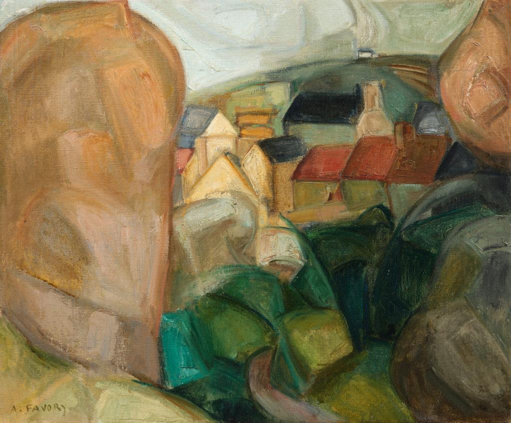Rochers et village cubistes à Ploumanach, tableau de André Favory, vendu par la galerie Marek & sons.