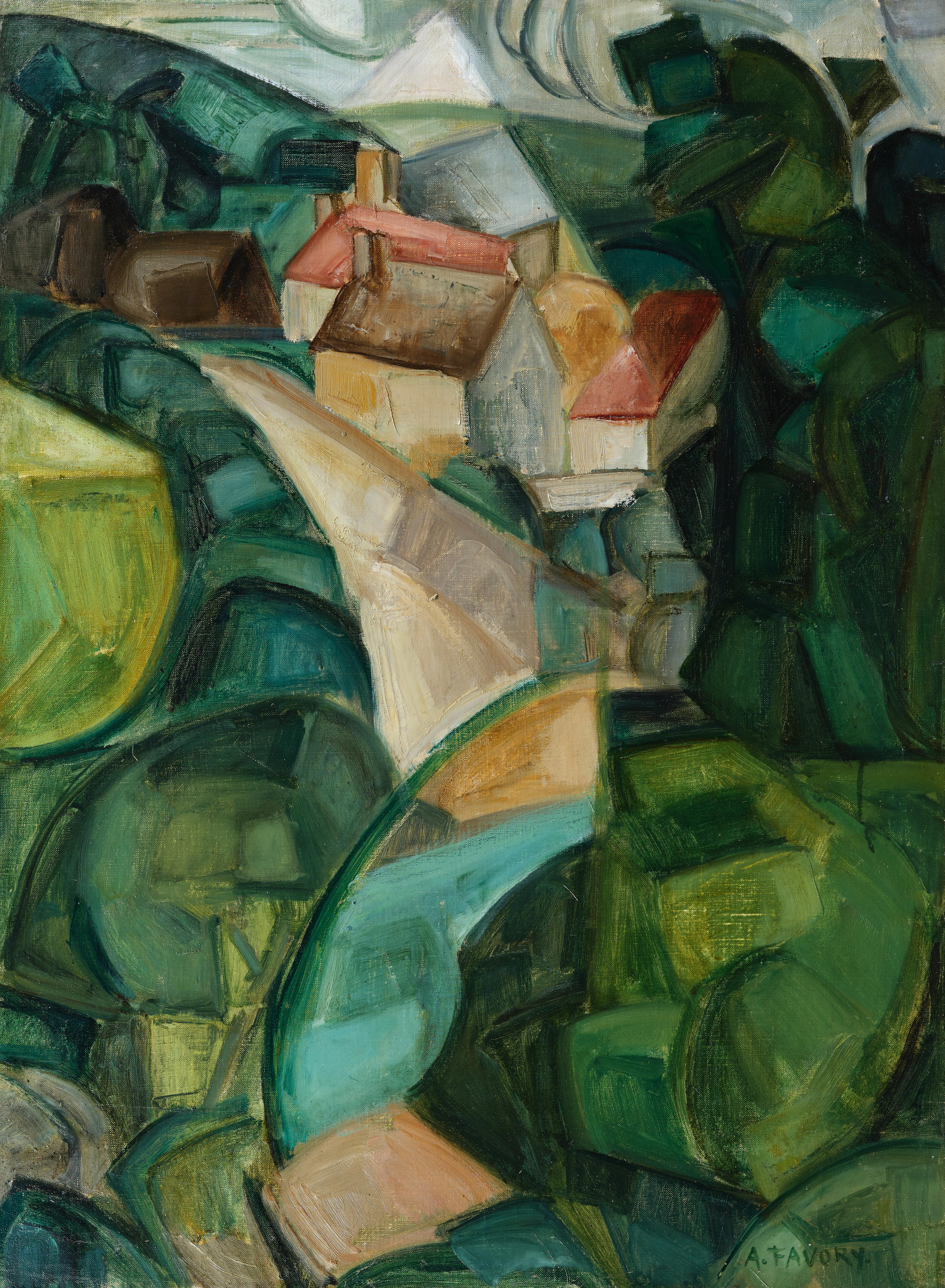 Village dans les arbres, paysage cubiste - tableau de André Favory, vendu par la galerie Marek & Sons