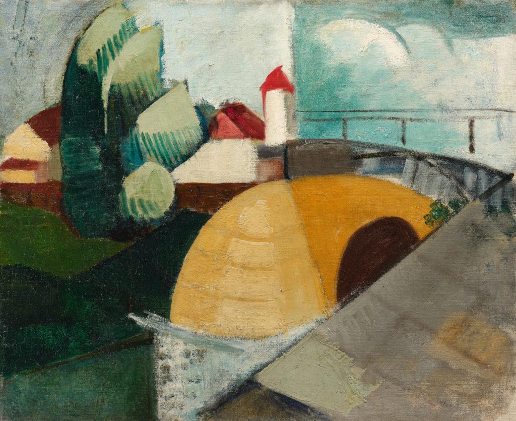 Paysage cubiste, l'entrée du village, tableau de André Favory, vendu par la galerie Marek & sons.