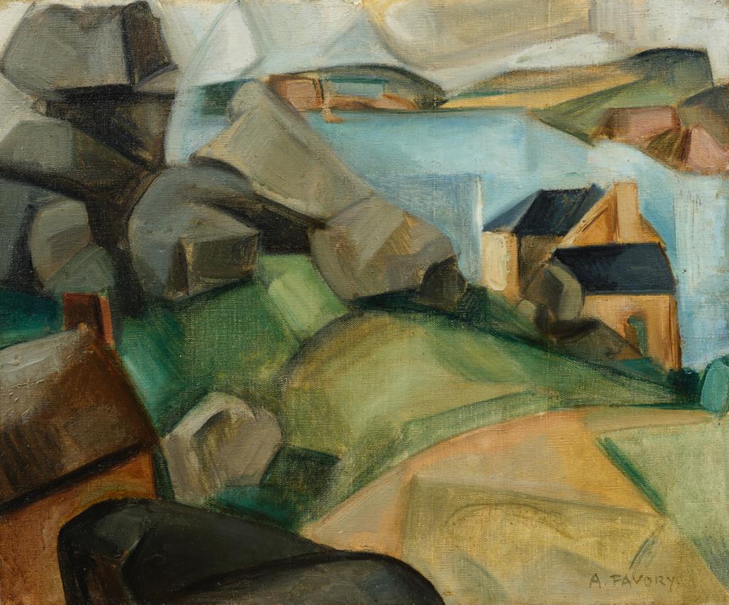 Bord de mer cubiste en Bretagne, tableau de André Favory, vendu par la galerie Marek & sons.